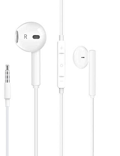 XDF Auricolare,Auricolari con filo,Cuffie con controllo del volume del microfono,Auricolari jack da 3,5 mm con eliminazione attiva del rumore, Compatibile con Phone 6 5 SE PC MP3 MP4 Android