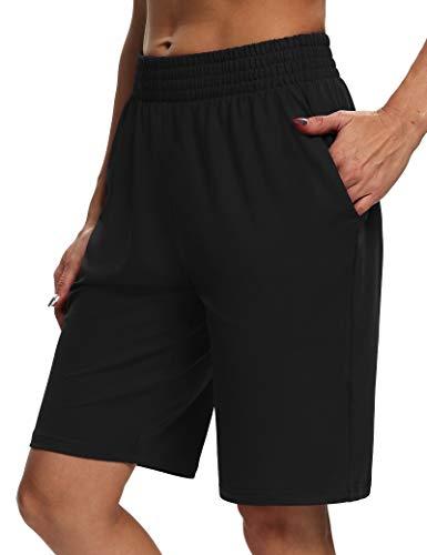 Sarin Mathews Womens Yoga Shorts Athletic Loose Comfy Lounge Shorts Running Workout Pajama Bermuda Shorts with Pockets Black M