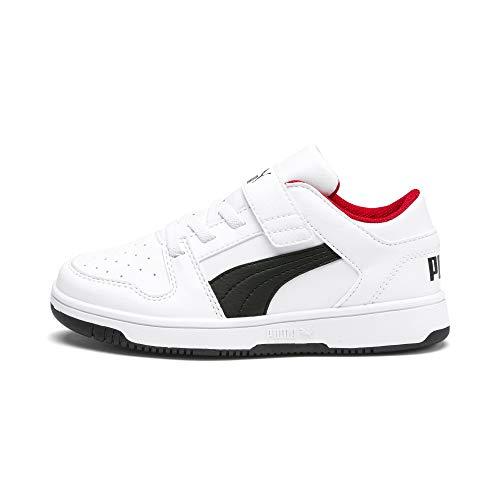 PUMA Rebound Layup Lo SL V PS, Sneaker Unisex-Bambini, Multicolore White Black/High Risk Red, 34 EU
