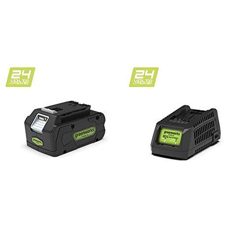 Greenworks 24V Lithium-Ionen Akku 4Ah (ohne Ladegerät) - 2902807+24V Ladegerät (ohne Akku) - 2913907