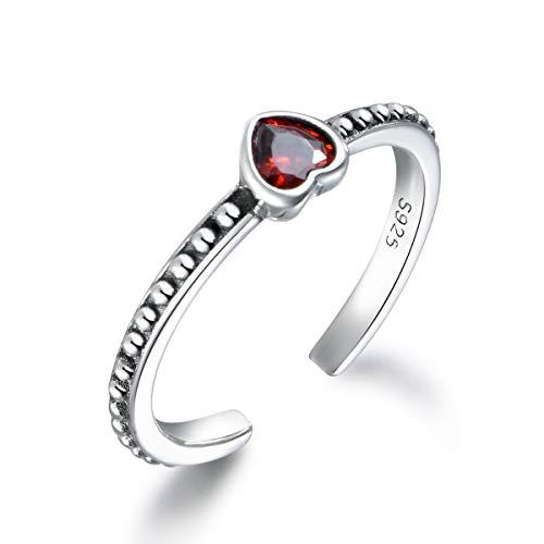 SNORSO Anillo de plata de ley 925 con corazón de rubí rojo para mujer