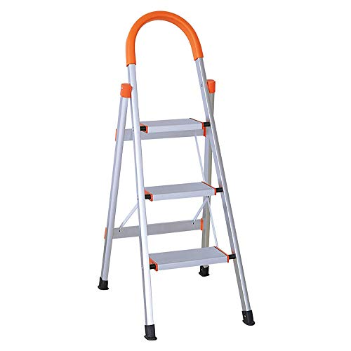 LUCKYERMORE Portable Step Ladder 3 Step for Adults, Sturdy Aluminum 3 Step Stool with Handgrip for Kitchen, 220lbs Capacity