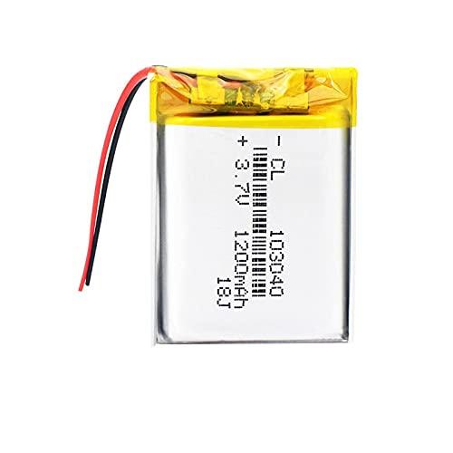MNJKH 3.7 BateríAs De ión De Litio De v 1200mah 103040, Batería Recargable para La Linterna 1piece