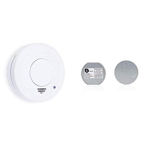Smartwares TÜV geprüfter Rauchmelder/Feuermelder, DIN EN 14604 zertifiziert, RM250, 1er Pack + Magnetbefestigungsset Magnetbefestigung für Rauchmelder, 6cm Durchmesser, Silber
