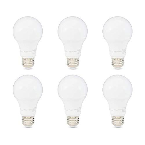Amazon Basics 40W Equivalent, Soft White, Dimmable, 10,000 Hour Lifetime, A19 LED Light Bulb | 6-Pack