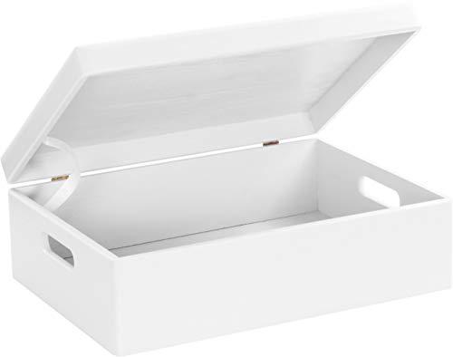 LAUBLUST Große Holzkiste Deckel und Griffe - 40x30x14cm, Weiß, FSC®   Allzweck-Kiste aus Holz - Aufbewahrungskiste   Geschenk-Verpackung   Deko-Kasten zum Basteln   Spielzeug-Truhe   Erinnerungsbox