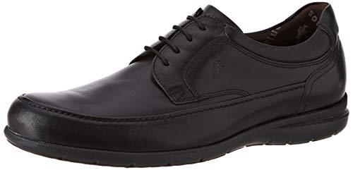 Fluchos | Zapato de Hombre | Luca 8498 Ave Negro | Zapato de Piel | Cierre con Cordones | Piso de Goma