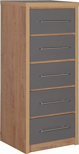 Seconique Seville 5 Drawer Narrow Chest, Grey