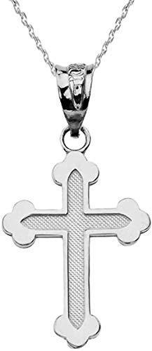 Collar con colgante de cruz ortodoxa griega delicada en plata de ley maciza