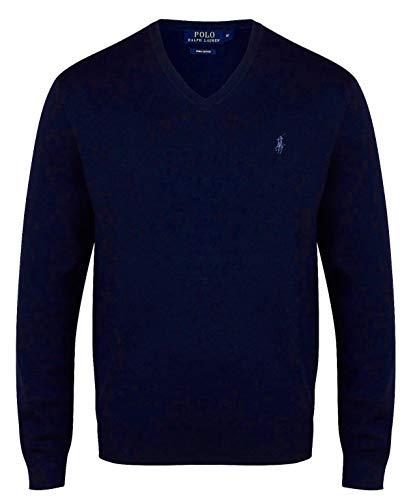 Ralph Lauren Pima - Maglia in cotone con scollo a V, taglia S, colore: Blu navy