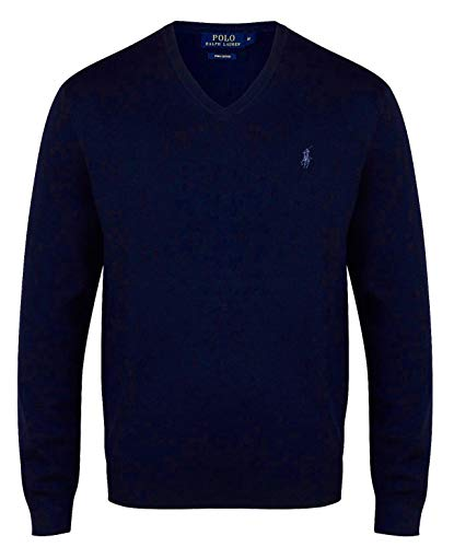 Ralph Lauren Polo Herren V-Neck Pima Cotton Navy Blue (XL)