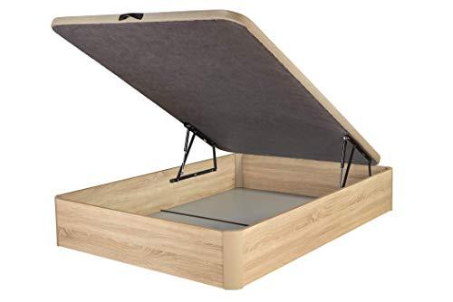 DHOME Canape Abatible Tapizado 3D Cambrian con Apertura Normal o Lateral Esquinas Macizas de Haya canapé Madera Roble (90x190 22mm)