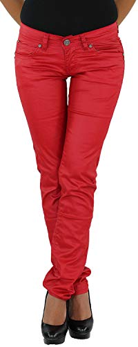Damen Kunstlederhose Röhrenhose Bikerhose Damenhose Leder Look Hose Röhre Rot 38