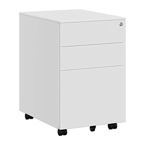 SONGMICS Stahl Rollcontainer mit 3 Schubladen und H?ngeregistratur Abschlie?barer B¨¹roschrank, Schrankkorpus Vormontiert, 39 x 60 x 52 cm Schwarz OFC60WT