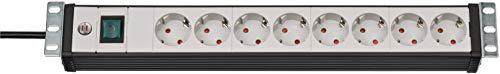 """Brennenstuhl Premium-Line, Steckdosenleiste 8-fach - 19\"""" Format ideal für Serverschränke (mit Schalter und 3m Kabel, Made in Germany) schwarz/grau"""