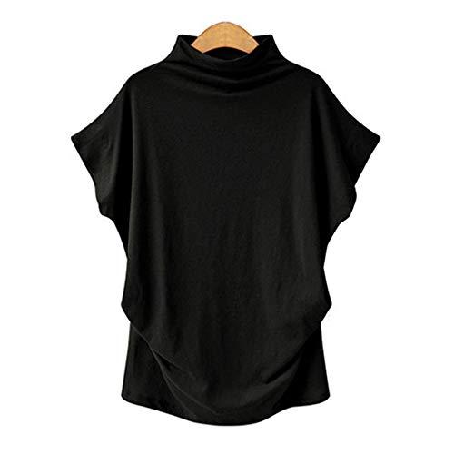 DISCOUNTL Camiseta de manga corta para mujer, talla grande, cuello alto, manga corta, tallas S-5XL, camiseta holgada para mujer, talla 44-50