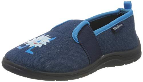 Playshoes Monster, Unisex-Kinder Niedrige Hausschuhe, Blau (jeansblau 3), 24/25 EU