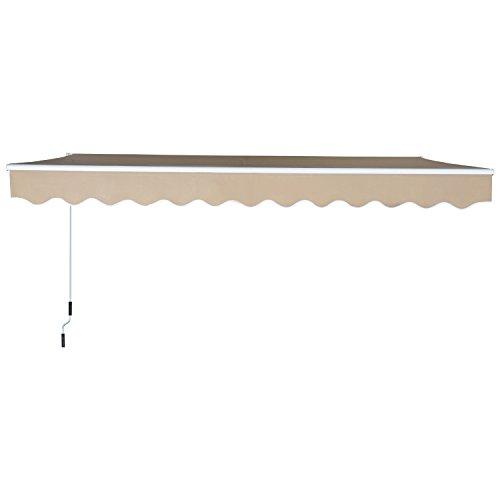 Outsunny Toldo Manual Plegable de Aluminio Toldo Balcón Patio Terraza con Manivela Resistente al Agua Protección Solar UV para Jardín Exterior 3.5x2.5m Aluminio Acero Tela de Poliéster