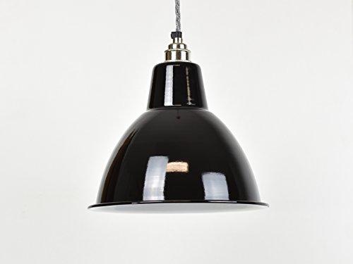 Emaille-Lampenschirm im industriellen Vintage-Stil (Fabrik-/Warenhausstil), Kuppel-Form, Tiefschwarz