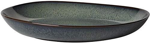 like. by Villeroy & Boch - Lave gris Schale flach, 28 x 27 x 4.3 cm, schöne Schale aus Steingut für Beilagen und größere Gerichte, spülmaschin- und mikrowellengeeignet