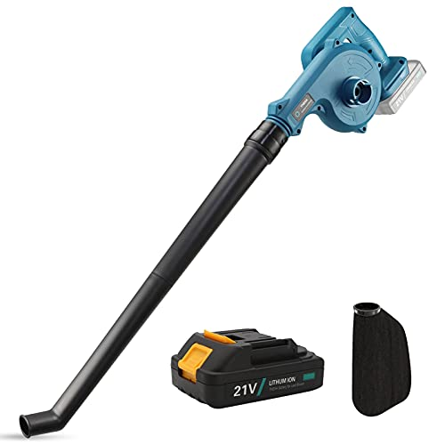 TNEIIA Cordless Leaf Blower and Vacuum 2-in-1 Garden Blowers Electric Air Leaf Dust Blower, Max Airspeed 52 m/sec 21V 2.0Ah Li-ion Battery, for Clearing Car Garden Leaves and Dust