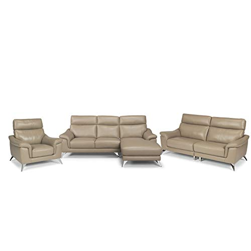 """Home Styles homestyles by Flexsteel Moderno Leather Upholstered 3 Piece Chaise Sofa, Two Seat Sofa & Chair Sofa: W-90 ¾"""", D-58 ¾"""", H-36"""" Sofa: W-78"""", D-35"""", H-36 ½""""Chair: W-40 ¼"""", D-35"""", H-36"""", Beige -  homestyles® by Flexsteel®, 5230-6150"""