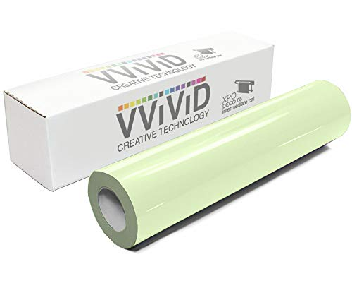 VViViD DECO65 Glow in The Dark Blue Permanent Adhesive Craft 12 Inches x 4 Feet Vinyl Roll for Cricut, Silhouette & Cameo Including Free 12 Inches x 12 Inches Transfer Paper Sheet