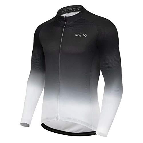 ROTTO Maglia Ciclismo Uomo Magliette MTB Bici Manica Lunga con Tasca Serie di Gradienti
