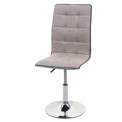 Mendler Esszimmerstuhl HWC-C41, Stuhl Küchenstuhl, höhenverstellbar drehbar, Stoff/Textil ~ Creme-grau