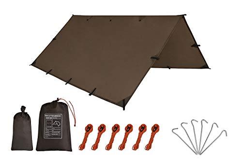Gecamp Camping Tent Tarp,Hammock Rain Fly Tarp,10X10FT 10X15FT Waterproof Tarp Backpacking,Multifunctional Tarp Tent Footprint for Camping,LightweightEmergency ShelterTarp(10×15FT Coffee)