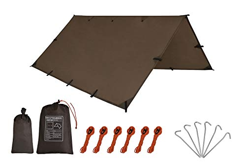 Camping Tent Tarp,Hammock Rain Fly Tarp,10X10FT/10X15FT Waterproof Tarp Backpacking,Multifunctional Tarp Tent Footprint for Camping,Lightweight Emergency Shelter Tarp   (10×15FT Coffee)