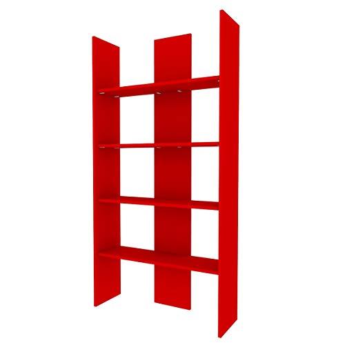 Mobilfino 999 Bibliothèque pour chambre d'enfant ou salon, design moderne épuré et essentiel 177 x 90 x 27 cm