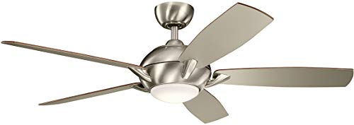 """Kichler 330001BSS Geno 54"""" Ceiling Fan with LED Light and Remote Control, Brushed Stainless Steel"""