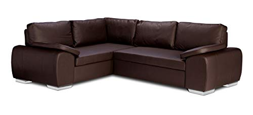 ENZO - CORNER SOFA BED WITH STORAGE - FAUX LEATHER - LEFT HAND SIDE ORIENTATION (BROWN)