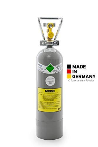2 kg Kohlensäure Flasche / 2 kg CO2 Flasche/Gasflasche gefüllt mit Kohlensäure(CO2) / Lebensmittelqualität nach E290 / NEUE Eigentumsflasche / 10 Jahre TÜV ab Herstelldatum/made in Germany