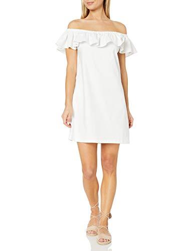 Amazon Brand - 28 Palms Women's Linen Blend Tropical Hawaiian Print Off-Shoulder Dress, White, XX-Small