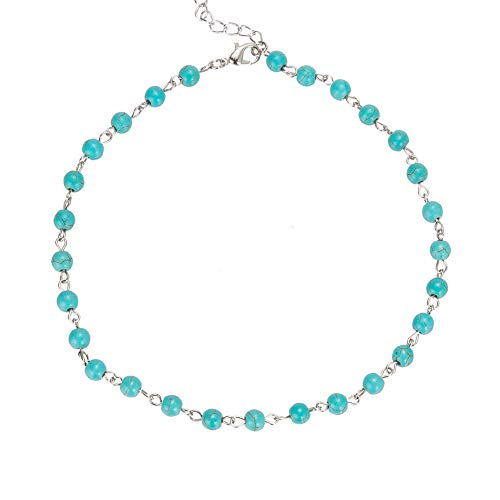 Femtindo Dainty Semi Precious Stone Choker Necklace Agate Opal Beaded Chain Collar for Women Girls (Turquoise)