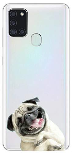 Mixroom Schutzhülle für Samsung Galaxy A21S, aus TPU, weich, transparent, Motiv: Bulldogge U1064