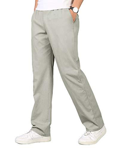 Coofandy Herren Hose Lang aus Baumwollmischung Tunnelanzug Stretch Große Tasche Atmungsaktiv Leichte Hosen für Männer Hell Grau L