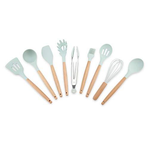 Raviga Juego de utensilios de cocina de silicona azul de 9 piezas sin cubo de ahorro