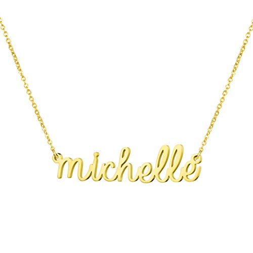 Personalized Name Necklace 18K Gold Plated New Mom Bridesmaid Gift Jewelry for Michelle