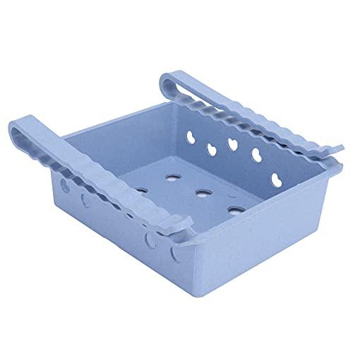 Organizador de cajones para frigorífico, caja de almacenamiento para frigorífico extraíble retráctil, caja de almacenamiento para soporte de estante para frigorífico(azul claro)