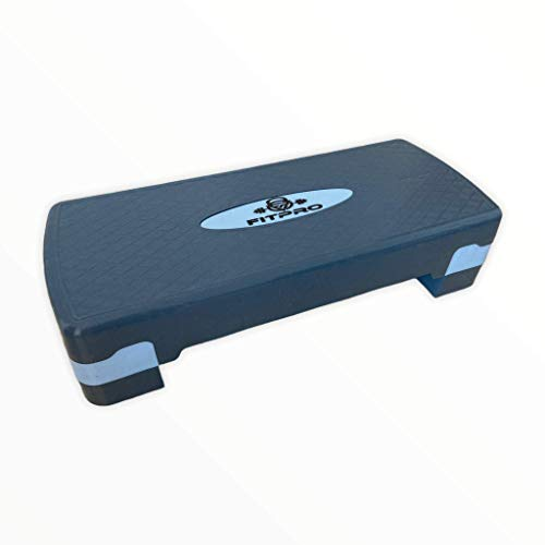 Step de Aeróbic y Fitness Tipo Tabla Plataforma para Deporte y Gimnasia con Altura Regulable a 2 Niveles Carga 150kg (Azul)