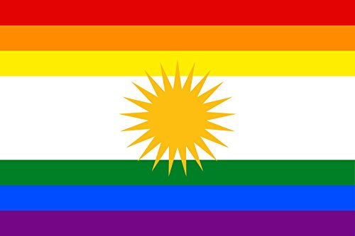 magFlags Flagge: Large LGBT Flag of Kurdistan | LGBT Flag of Kurdistan | Querformat Fahne | 1.35m² | 90x150cm » Fahne 100% Made in Germany