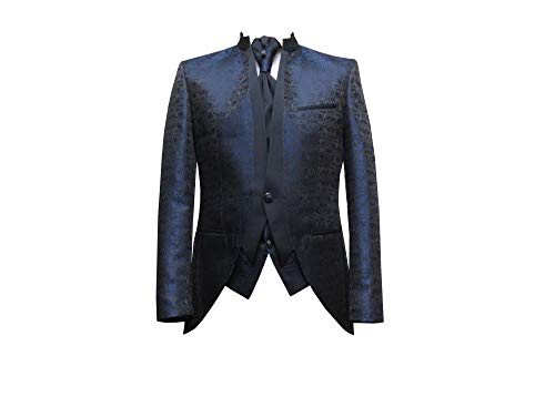 Hochzeit Anzug Gehrock-Cutaway Style 4-teilig Dunkelblau 58