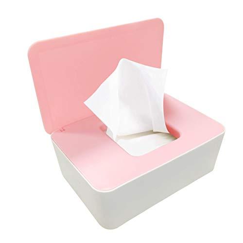 Caja para Toallitas Húmedas, Dispensador de toallitas de pañal Caja, Caja de Servilletas, Bebé Caso Titular Caja, Pañales de Bebé Mojado Tejido Caja (Rosa + Blanco)