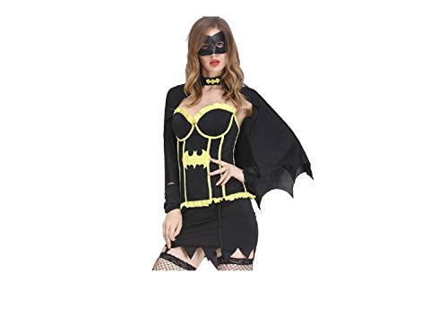 GGT Boutique vleermuis meisje sexy super held kostuum, M, Zwart en Geel