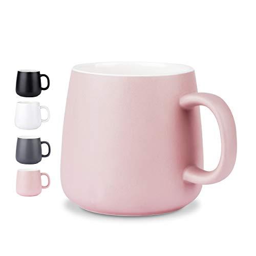 NEWANOVI Keramische Kaffeetasse Kaffeetasse aus Porzellan in matt, Becher mit henkel für Heißgetränke, Kaffee, Tee Milch, Kakao, Keramik Becher, 360ml, Pink