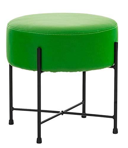 CLP Sgabello Puff Tondo Soggiorno Marseille I Pouf Poggiapiedi Divano In Similpelle E Metallo Altezza 40 CM, Colore:verde