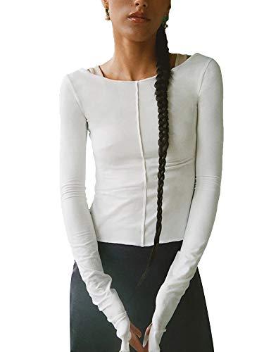 Grace&Nora Camiseta reversible para mujer, diseo de patchwork, color slido, manga larga, cuello redondo, hueco